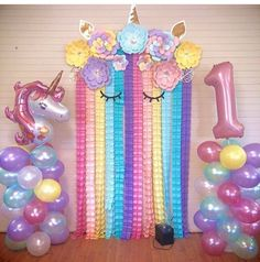 Sending everyone Friday unicorn vibes from 😍😍 . Rainbow Unicorn Party, Unicorn Themed Birthday Party, Birthday Diy, 2nd Birthday Parties, Diy Birthday Decorations, Balloon Decorations Party, Paper Flowers, Bedroom Decor, Shower