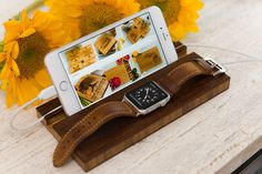 Docking Station Apple Watch Dock iPhone Stand Monogram Personalized Men Phone Charging Wood 5 5s 6 6plus Groomsman Boyfriend Gift Initials