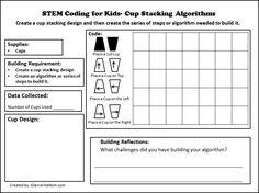 STEM Coding for Kids - Cup Stacking Algorithms Printable