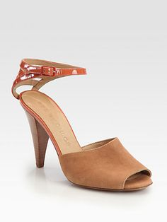 See by Chloe - Suede & Patent Leather Ankle Strap Sandals - Saks.com