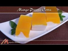 Mango panna cotta is a delicious, easy, light and refreshing dessert. Mango and coconut milk together makes it a layered, tempting vegan delight that is hard to resist. Eggless Desserts, Vegan Desserts, Jelly Recipes, Sweet Recipes, Yummy Recipes, Recipies, Dessert Recipes, Indian Desserts, Indian Sweets