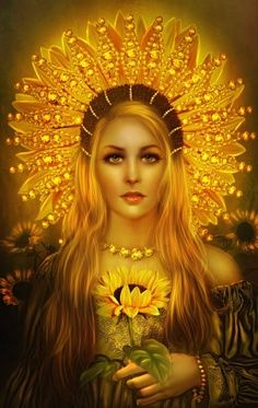Sunna - - the Norse Goddess of the Sun. Norse mythology, the Sun is female while the Moon is male.