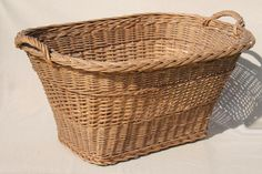 vintage french country chic wicker laundry hamper, big old wash basket w/ handles