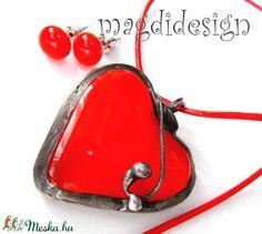 Tűzpiros szív üvegékszer szett nyaklánc pötty fülbevaló, nőnapra, anyák napjára (magdidesign) - Meska.hu Techno, Saddle Bags, Techno Music