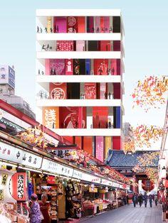 Of Kumiko Inui: Asakusa tourist information center, Tokyo. Nakamise dori (street) to Sensoji Temple.