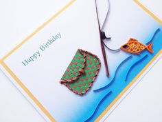Men's Birthday Fishing Quilled Card. Dad Brother Son by Joscinta, £5.00