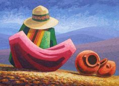Larga Espera II Mexican Paintings, Country Paintings, Mini Paintings, Peruvian Art, Figurative Kunst, Mexico Art, Alcohol Ink Art, Naive Art, Pictures To Paint