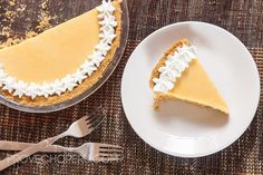 passionfruit cream pie; nilla wafer crust with a rich passion fruit custard filling; crust has just a bit of saltiness from the butter and the cream filling is both sweet and tart