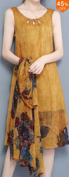Elegant Two Pieces Set Half Sleeve Print Chiffon Women Dress. #women #fashion #dresses