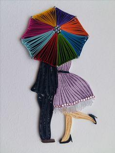 Quilling Eliza Sobkowiak - Całus pod parasolką - obrazek wykonany z papieru metodą quilling