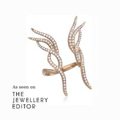 Effortless style from @as29_audrey rose gold Butterfly Rainbow ring with white diamonds promises to cure all ills with its modern, spiky design - £1,625 Shop the look at www.thejewelleryeditor.com/window-shopping/jewellery-for-her #AS29 #diamonds #rosegold #ring #jewellery #style #butterfly #instachic #celebritystyle