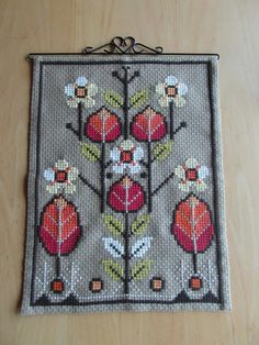Vintage Swedish Wall Embroidery with Flowers by VintagePearlHunt