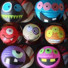 Paper lanterns and sticky foam diy monster party decorations