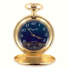 Personalized Gold Pocket Watch w/ Blue Face - Wholesale Favors