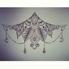 I really like this sternum tattoo. Kinda dainty even though it's rayher large. Dream Tattoos, Future Tattoos, Love Tattoos, Body Art Tattoos, New Tattoos, Tatoos, Sternum Tatoo, Mandala Tattoo, Piercing Tattoo