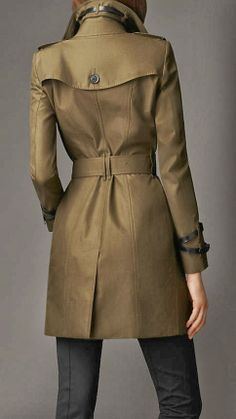 Mid-Length Leather Detail Trench Coat