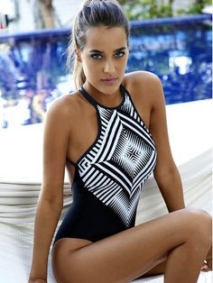 This hot black geometric pattern halter padded swimwear offers comfortable fit without compromising sexy style. Improve your freshest look and make sure to grab yours today. Item Type: One Pieces Spor