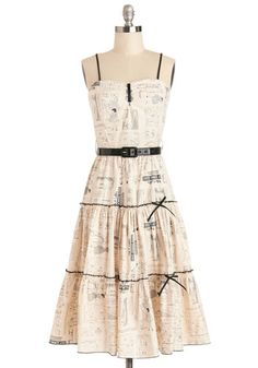 Make it Needlework Dress by Bernie Dexter - Cream, Black, Print, Belted, Casual, A-line, Spaghetti Straps, Better, Long, Cotton, Woven, Bows...