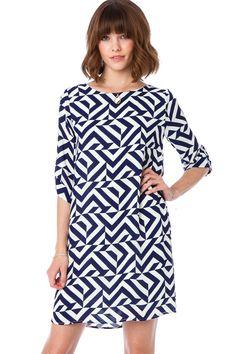 Tria Shift Dress in Navy / ShopSosie #shiftdress #dress #navy #print #navy #shopsosie