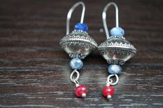 Silver Plated Acrylic Flanked by Lapis Lazuli with Red Ruby and Sterling Silver Earrings.