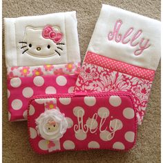 Hello kitty burp cloths and wipe case