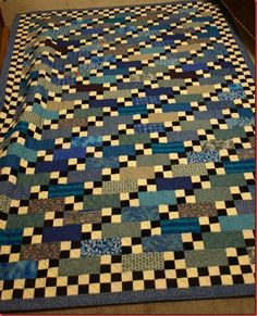 """Nancy's """"Stepping Stones"""" in blue -- pattern by Bonnie Hunter"""