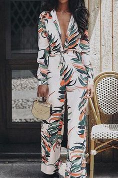 Adogirl Floral Print Bandage Deep V Neck Jumpsuit Women Autumn Casual Long Sleeve Party Rompers Female Outfit Streetwear Overall Floral Jumpsuit, Printed Jumpsuit, Halter Jumpsuit, Jumpsuit Outfit, Casual Jumpsuit, White Jumpsuit, Long Jumpsuits, Jumpsuits For Women, Fashion Jumpsuits