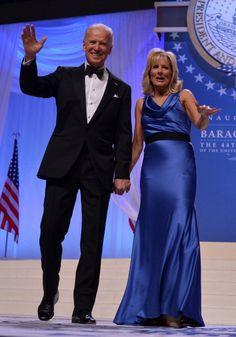 Dr. Jill Biden's inaugural gown by Vera Wang--with Joe Biden.