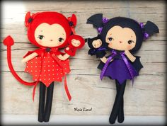 PDF. Halloween Bat and Devil dolls with puppets .