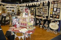 Antique Booth Display Ideas | Here is our little kitchey display with the cute red table I found for ...