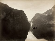 "Knud Knudsen ""Parti af Geirangerfjorden"" ca 1880 Bergen, Vintage Photography, Fine Art Photography, Nordic Lights, National Symbols, Visit Norway, Landscape Pictures, Paris, Landscape Photographers"