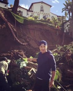 Mario Lopez's backyard was partially destroyed after severe rainstorms raged through southern California earlier this week.  … There's the police officers, I got choppers in the sky.  Lopez shared another video, along with a photo of his home, on Friday morning to show the progress.