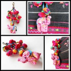 Pink Elephant & Colorful Pom Poms Key chain Zip Pull Bag Accessory | GoldenWorld - Accessories