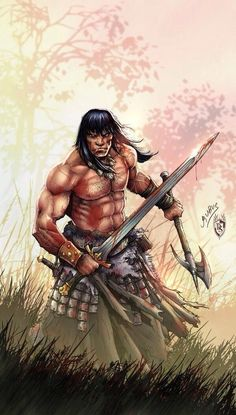 """m Barbarian Sword Axe wilderness deciduous forest hills grassland Conan! What is best in life? """"Eight hours of restful sleep every night! Conan Comics, Marvel Comics, Red Sonja, Fantasy Warrior, Sci Fi Fantasy, Comic Book Characters, Fantasy Characters, Literary Characters, Conan The Conqueror"""