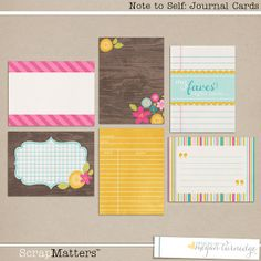 Note to Self Journal Cards by Designs by Megan Turnidge at ScrapMatters Project Life Freebies, Project Life Layouts, Project Life Cards, Scrapbook Journal, Journal Cards, Pocket Scrapbooking, Digital Scrapbooking, Ideas Scrap, Printable Cards