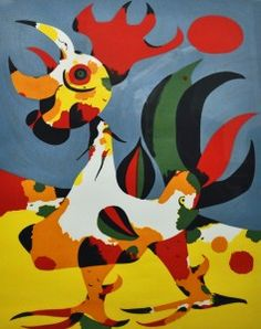 """Joan Miro, Le Coq; c. 1935, Porchoir, 21"""" x 16""""  Collector's Choice: Samuel Blatt Collection On extended loan to permanent collection On view in the Chris Harris Gallery at 600 N. Woodland Blvd."""