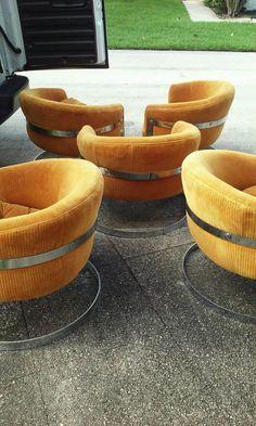 Milo Baughman Mid-Century Modern Chrome Flat Bar Cantilever Tub Lounge Chairs, All Original Including Orange Velvet Fabric. by FLORIDAMODERN on Etsy