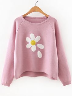 To find out about the Raglan Sleeve Dip Hem Flower Sweater at SHEIN, part of our latest Sweaters ready to shop online today! Girls Fashion Clothes, Fashion Outfits, Mode Kawaii, Asymmetrical Sweater, Winter Sweaters, Cardigans For Women, Long Sleeve Sweater, Cute Outfits, Pink Sweater