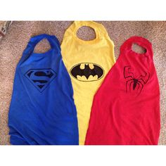 Super Hero Capes I made for the preschool! No sew...just snip snip then make your own design. I made a couple quick stencils to help me.