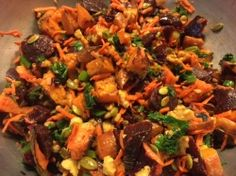 Roasted Sweet Potato Salad #IINHealthCoach #cleaneating #resistantstarches #hormonehealth #travel #coldsalad #sweetpotato #beets
