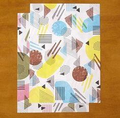 大きなA3サイズだから、プレゼントのサイズによって自由に使いやすい、水縞の包装紙。 様々な大きさや形のオブジェクトが自由に飛び交う、オシャレな包装紙。