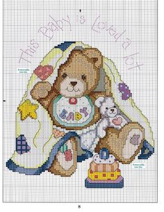 Cross-stitch This Baby Is Loved Alot... no color chart available, just use pattern chart as your color guide.. or choose your own colors...      Schema punto croce Baby Is Love 14