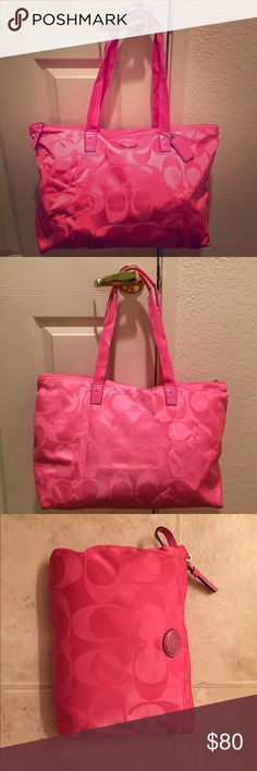 Coach Travel Bag/Tote - Pink Awesome for traveling.  Once you're done using the bag you can store it it the small bag that you can also attach inside for small items. Coach Bags Travel Bags