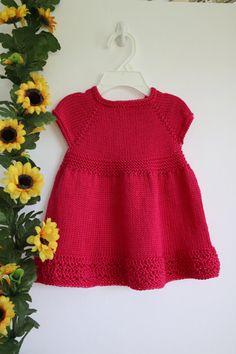 Pink baby dress little girl knitwear cotton by KansasKlicker Pink Toddler Dress, Baby Dress, Little Girl Dresses, Girls Dresses, Crochet Baby, Knit Crochet, Bright Pink Dresses, Baby Knitting Patterns, Knit Dress