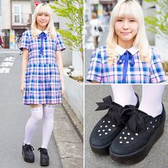 Yuri on the street in Harajuku wearing a plaid dress from Candy Stripper with Candy Stripper over-the-knee heart socks and Tokyo Bopper ribbon-laced platforms.