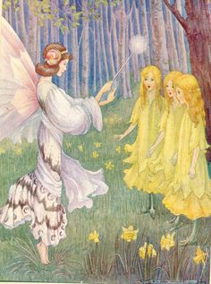 Daffodil Fairies antique illustration from Stories Told to Children by Flora White