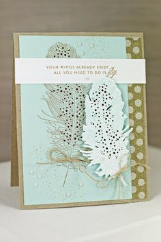Procrastination Station: Introducing Feather Finery love the feather Hand Made Greeting Cards, Making Greeting Cards, Scrapbooking, Scrapbook Cards, Paper Feathers, Feather Cards, Bee Cards, Engagement Cards, Beautiful Handmade Cards