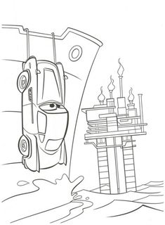 Pin finn mcmissle cake 3d cars 2 covered in fondant cake for Finn mcmissile coloring page