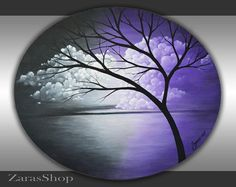 Abstract Tree Painting 20x24 Oval Canvas Black Purple Lavender White Clouds Landscape Original Modern Art Acrylic Artwork Home Office Art