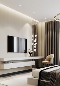 Showroom apartments visualization on Behance Modern Luxury Bedroom, Luxury Bedroom Design, Bedroom Bed Design, Home Room Design, Luxurious Bedrooms, Home Interior Design, Interior Ideas, Bedroom Tv Wall, Home Decor Bedroom